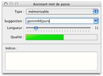 L'assistant de mot de passe de Mac OS X